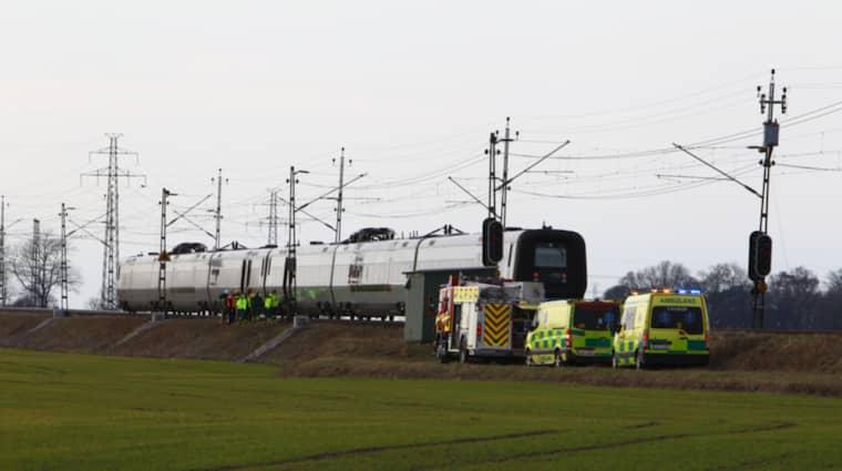 Tåget var enligt Skånetrafiken på väg från Karlskrona mot Lund. Foto: Peo Möller / TOPNEWS.SE