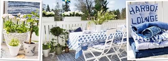 Ljuvliga toner i blått och vitt på uteplatsen Leva& bo