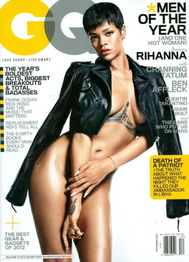 Omslaget till decembernumret av magasinet GQ där Rihanna poserar naken. Foto: Planet Photos