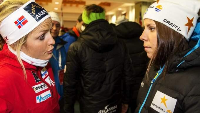 Therese Johaug och Charlotte Kalla Foto: Nils Petter Nilsson