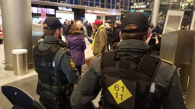 Protesten genomförs på Kastrup. Foto: Mikael Nilsson