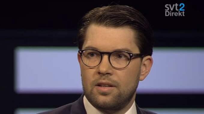 """Jimmie Åkesson (SD) välkomnar en """"Brexit"""". """"Jag hoppas verkligen att vi får möjlighet att folkomrösta i Sverige så småningom"""", säger han i SVT:s Agenda. Foto: Skärmdump"""