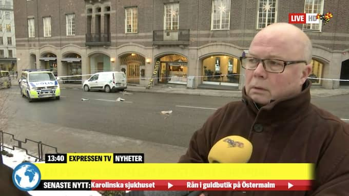"""En skandal att sånt kan ske mitt inne i stan"", säger ett vittne. Foto: Expressen TV"