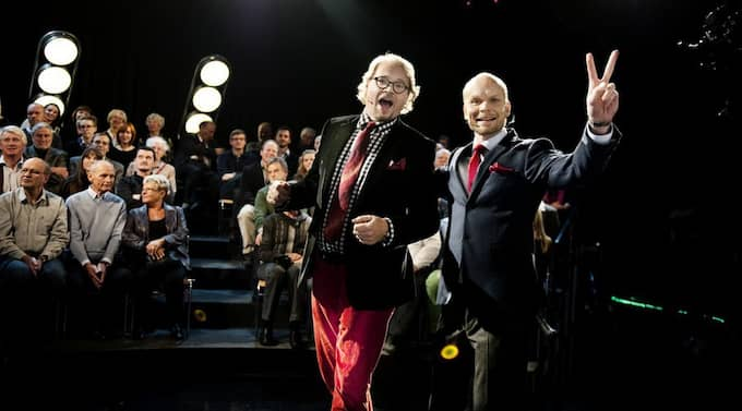 """Fredrik Lindström och Kristian Luuk under inspelningen av förra årets """"På spåret"""". Foto: Anna-Karin Nilsson"""