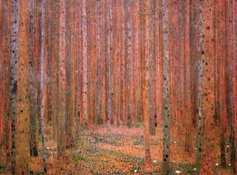 Ett träd, vart och ett för sig, tillsammans en skog. Tallskog. Gustav Klimt 1901 (beskuren)
