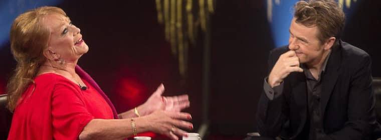 Anna Wahlgren i samtal med Fredrik Skavlan. Foto: Gunnar Seijbold