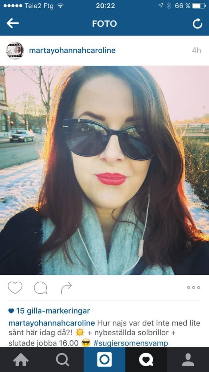 """Johanna Hansson, 23, Gävle """"Hur najs var det inte med lite sånt här då?! + nybeställda solbrillor + slutade jobba 16.00""""."""