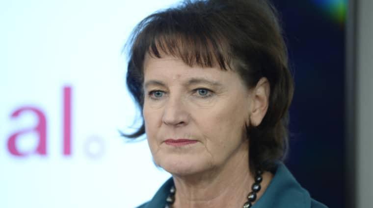 Kommunals ordförande Annelie Nordström meddelade under presskonferensen att hon avgår vid nästa kongress. Foto: Jessica Gow/TT