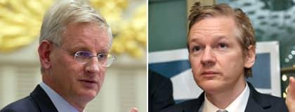 Carl Bildt och Wikileaks grundare Julian Assange. Foto: Roger Vikström, AP