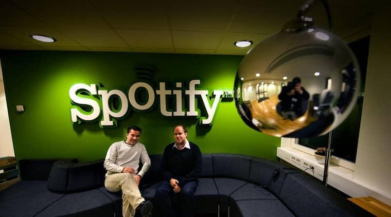 Spotifys grundare Daniel Ek och Martin Lorentzon. Foto: Magnus Hallgren