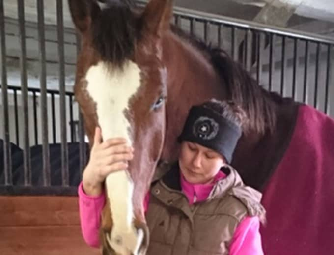 """När Felicia Jonsson och hästen Lindeman MB blev vettskrämda av en smitande Västtrafikchaufför kunde det allra värsta ha hänt. """"Jag var väldigt rädd att Lindeman skulle bli påkörd"""", säger Felicia om händelsen. Foto: Privat"""