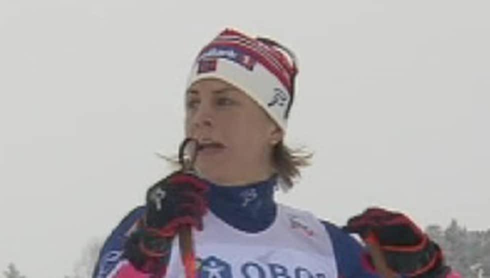 Astrid Jacobsen var inte nöjd med Maria Nordström. Foto: Eurosport.