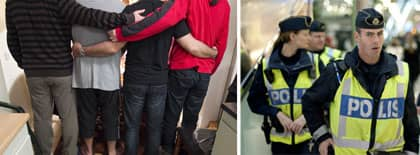 Av de fyra som misstänkts för förberedelse till terrordåd i Göteborg släpptes två redan på lördagen, samma dag som de greps. De andra två anhölls, men släpptes i går kväll. Glädjen var stor när männen återförenades. Foto: JAN WIRIDÉN/ BJÖRN LARSSON/SCANPIX