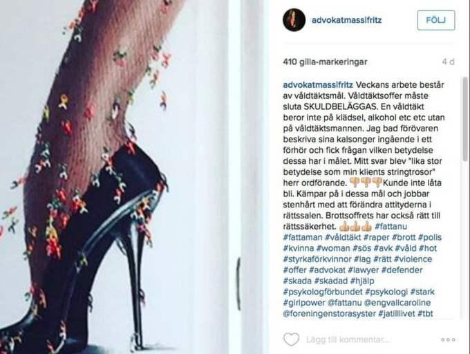 """""""Om en domare inte stoppar den typen av frågor till mina klienter så måste jag fråga hur förövarens kalsonger ser ut,"""" säger Elisabeth Massi Fritz. Foto: Skärmavbild Instagram"""