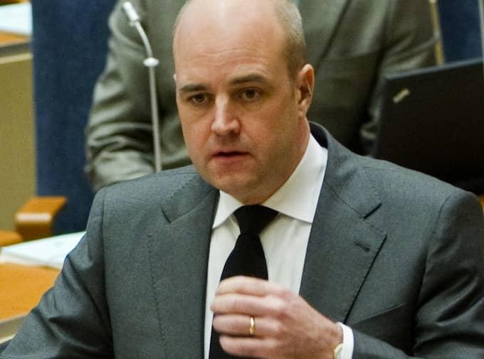 Fredrik Reinfeldt i riksdagen i dag. Foto: Christian Örnberg