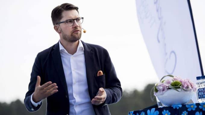 Sverigedemokraternas partiledare Jimmie Åkesson är sambo med Margareta Larssons dotter Louise Eriksson. Foto: Christian Örnberg