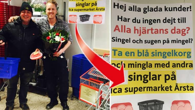 På Ica i Årsta kan du mingla med blå singelkorgar på Alla hjärtans dag.