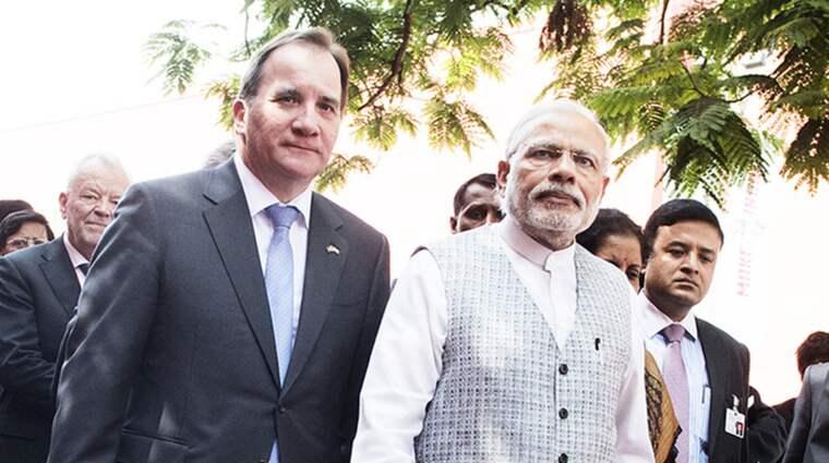 Här träffar Stefan Löfven Indiens premiärminister Narendra Modi i Mumbai, Indien. Foto: Anna-Karin Nilsson