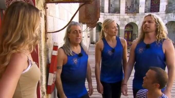 Marie Serneholt passade på att pika hårdrockarna Mikkey Dee och Kicken Lundqvist. Foto: TV4
