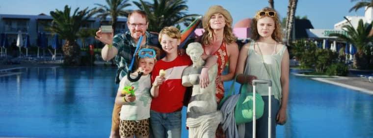 På semester. Familjen Andersson kom till Grekland till slut.
