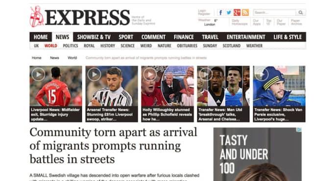"""DAILY EXPRESS """"En liten svensk by har kastats in i öppet krig efter att ilskna bybor drabbade samman med migranter – en kylig varning för riskerna med massinvandring"""""""