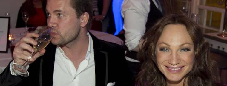 Charlotte Perrelli och Anders Jensen på efterfesten efter Melodifestivalens deltävling i Malmö. Foto: Sven Lindwall