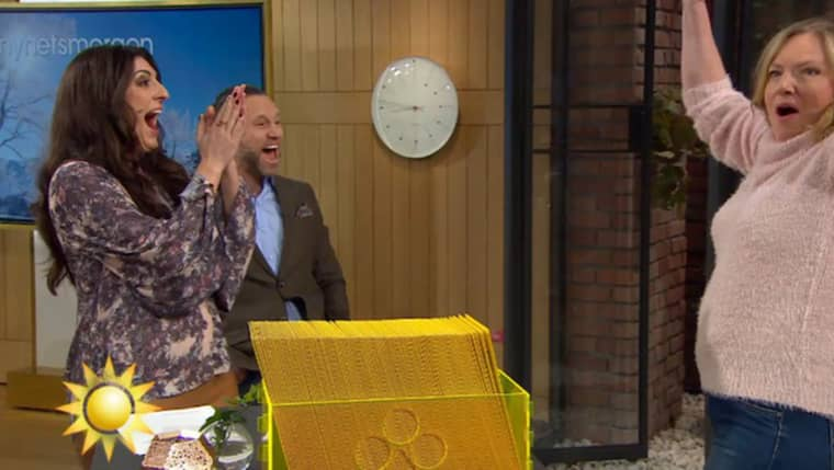 """Här vinner Helene 2,5 miljoner kronor i TV4:s """"Nyhetsmorgon""""."""
