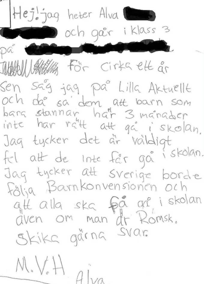 """""""Jag tycker att Sverige borde följa barnkonvensionen och att alla ska få gå i skolan även om man är romsk"""", skriver Alva i brevet. Foto: SKÄRMDUMP"""