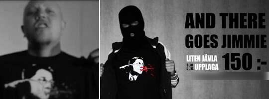 Kartellen-rapparen Sebastian Stakset i tröjan där Jimmie Åkesson blöder från näsa och mun.
