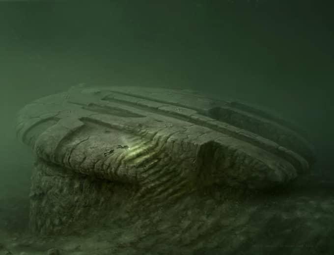 Så här kan det se ut under den mystiska cirkel som hittats på Östersjöns botten. Bilden är en datorbild. Foto: Hauke Vogt/Oceanxteam