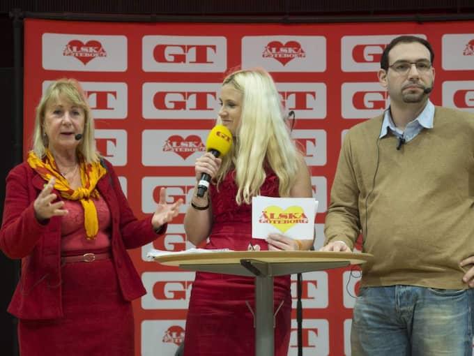 HET DEBATT. MP:s Kia Anderasson och VV:s Theo Papaioannou debatterade folkomröstningen om trängselskatten, ledda av GT:s Frida Boisen (i mitten) under valrörelsen. Foto: Per Wissing