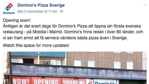 Domino 39 s pizza ppnar p mobilia i malm kv llsposten for X change malmo mobilia