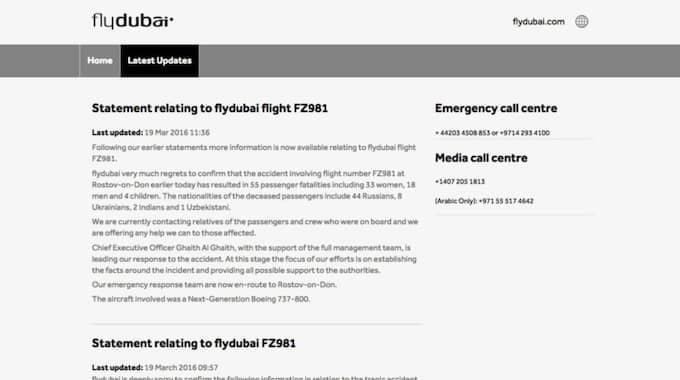 Flydubai ändrade logotypen till svartvitt när man på sin hemsida gick ut med ett uttalande efter flygkraschen.