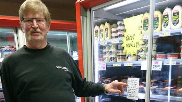 Handlaren Christer, 55, hyllas för sin lapp i matbutiken