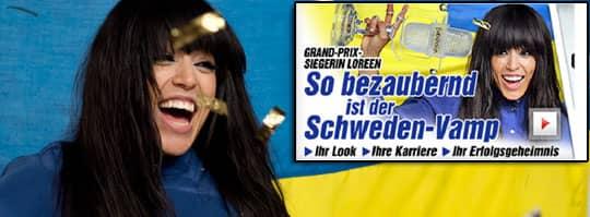 """Länder världen rapporterar om Loreens vinst i Eurovision song contest. I tyska Bild-Zeitung benämner man sångerskan som """"den charmiga svenska vampen""""."""