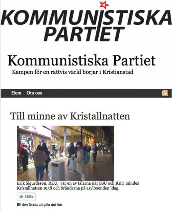 Kommunistiska Partiets hemsida.