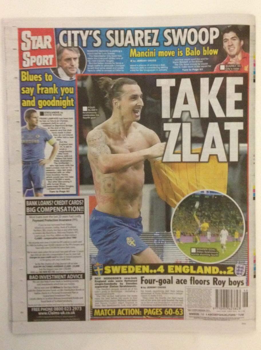 """DAILY STAR. David Woods, Sportreporter: """"Ibrahimovic slog sedan till med sitt hat-trick med en 84-minuters frispark. Och sitt fjärde med en kandidat till ett av de bästa målen någonsin på stopptid - en 30-meters bakåtspark""""."""
