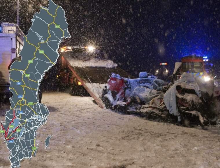 """FEM OMKOM. På E20, även kallad """"Dödens väg"""", omkom en hel familj med två vuxna och tre barn i januari i år. Röda vägar markerar de tio farligaste vägarna enligt Motormännen. Gula vägar är de farligaste sträckorna i Västsverige enligt polisens trafikenhet i Västra Götaland. Foto: Torbjörn Axelsson"""