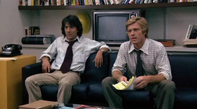 Murvlar. Dustin Hoffman och Robert Redford spelar journalisterna i Alla presidentens män om Watergateaffären. Foto: Arkiv