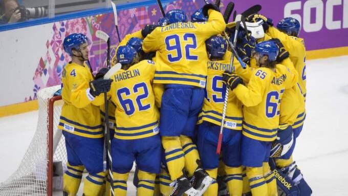 Det blir inget firande för Tre Kronor - även om det blir OS-guld. Foto: Sven Lindwall