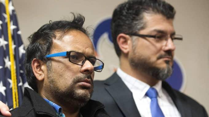 Syed Farooks svåger, Farhan Khan, deltog i en presskonferens med Islamska föreningen sa att han var i chock. Foto: Matt Masin/AP