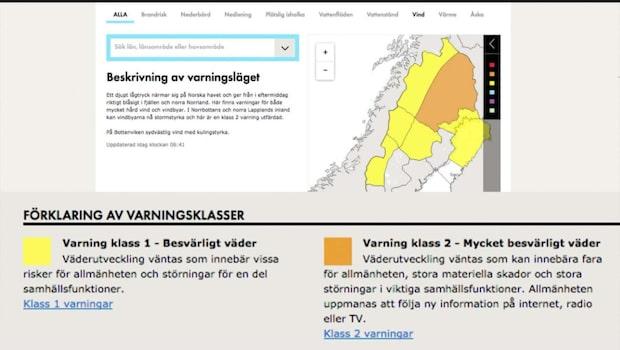 SMHI varnar för hårt väder i norra Sverige