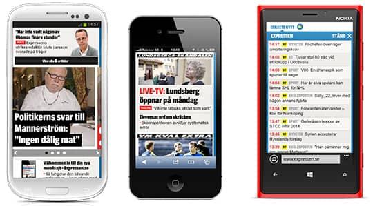 Expressens nyhetsapp finns både för Android, iOS och Windows Phone.