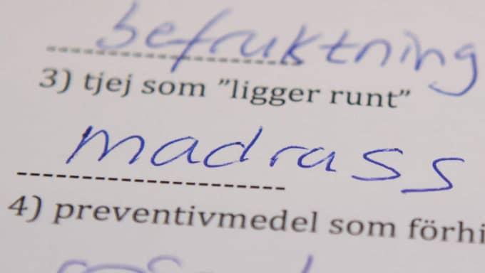 Den här frågan fick eleverna svara på. OBS! Bilden är en rekonstruktion av originalprovet från skolan i Alingsås. Foto: Jonas Tobin