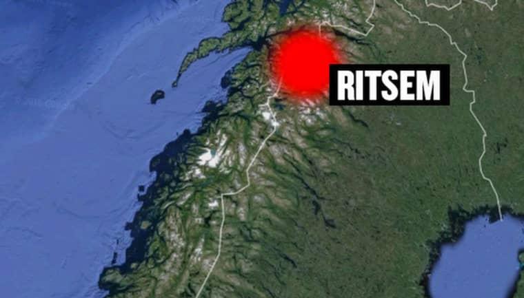 Jägaren, som är i 40-årsåldern, väntar på hjälp i trakterna av Ritsem i Lapplandsfjällen. Foto: Google