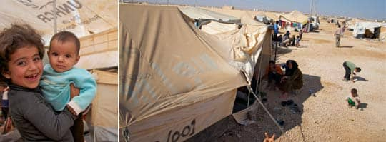 Ett liv i väntan. Officiellt finns i dag 35 000 personer i flyktinglägret i Za'atari. Platsen i ökenmarken är illa vald, dammet gör att barnen får ögoninfektioner och den starka solen bränner. Foto: Thomas Ekelund