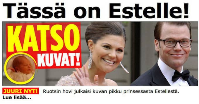Finländska tidningen Iltalehti.fi skriver: Här är Estelle! Se bilderna som svenska hovet släppt.