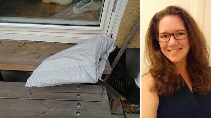 """Katastrofal """"utdelning"""". Postnord slängde Therése Mellons paket över ett högt staket till en stenlagd uteplats. Foto: Privat"""