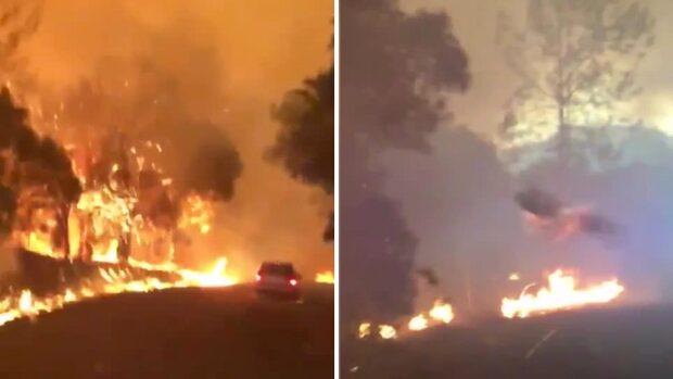 Se när glöden från skogsbranden slår mot bilrutan