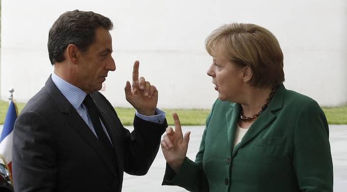 Tysklands förbundskansler Angela Merkel och den franske presidenten Nicolas Sarkozy. Foto: Tobias Schwarz